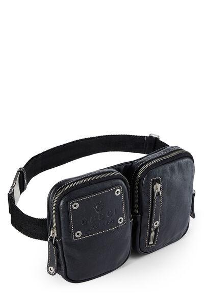 Black Leather Zip Pouch Belt Bag