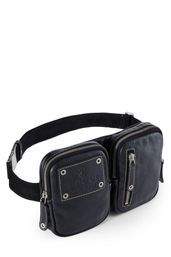 Black Leather Zip Pouch Belt Bag, , large image number 0