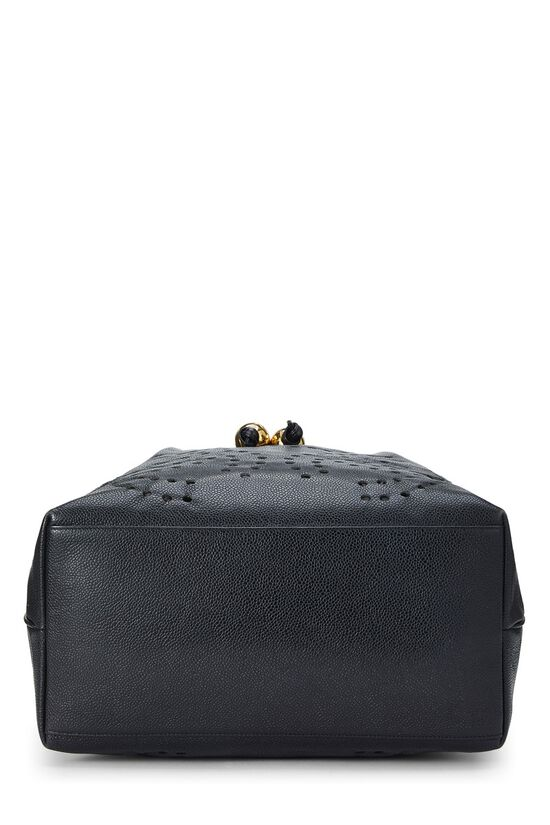 Black Caviar Leather Perforated Bucket Large, , large image number 4