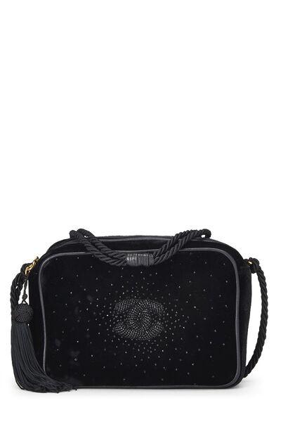 Black Velvet Beaded 'CC' Camera Bag Small