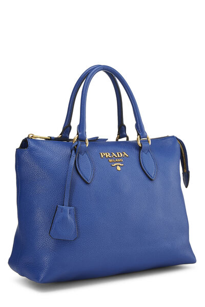 Blue Vitello Daino Handbag, , large