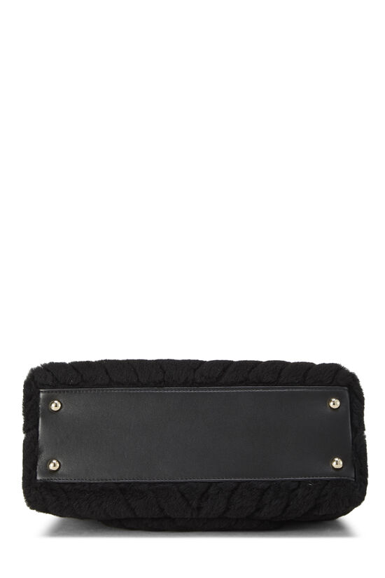 Black Chevron Shearling Coco Handle Bag, , large image number 5