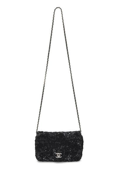 Black Sequin Half Flap Mini, , large