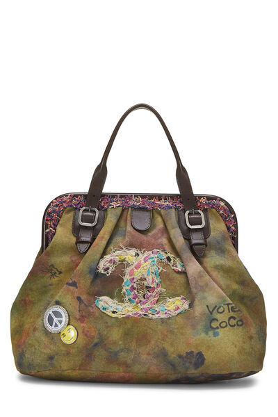 Green Canvas Graffiti Bowling Bag
