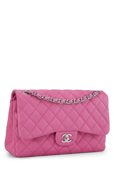 Pink Quilted Caviar New Classic Double Flap Jumbo, , large