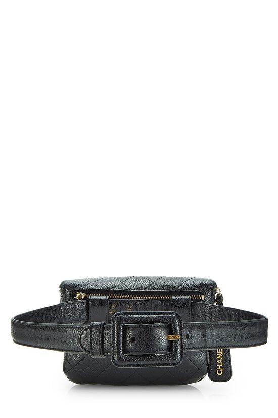 Black Quilted Caviar Belt Bag 30, , large image number 3