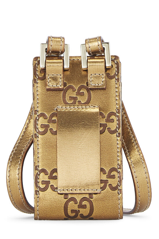 Gold Gucci Signature Leather Pouch Mini, , large image number 2