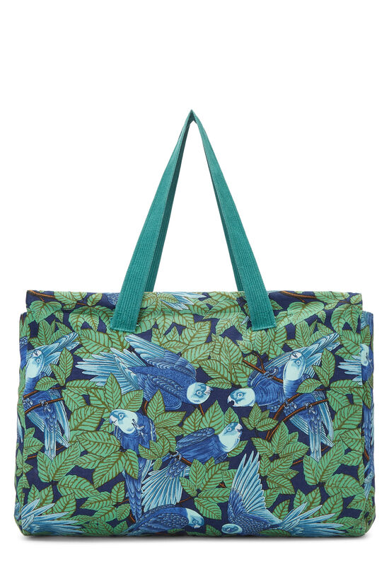 Green & Blue Tropical Canvas Tote, , large image number 0