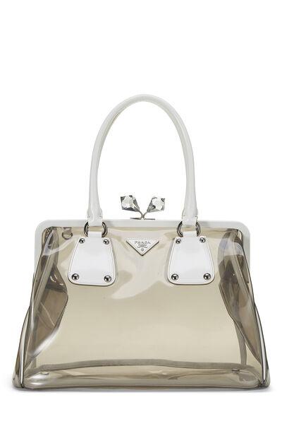 White Leather & Grey Vinyl Kiss Lock Handbag