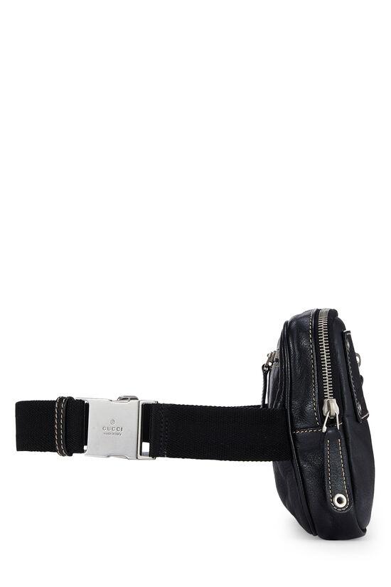 Black Leather Zip Pouch Belt Bag, , large image number 2