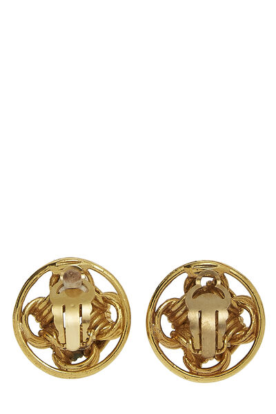 Gold CC Round Chain Earrings, , large
