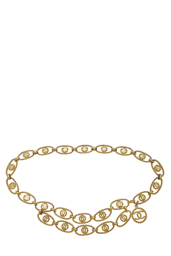 Gold Oval 'CC' Chain Belt, , large image number 0