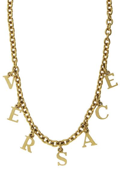Gold Logo Letters Necklace, , large