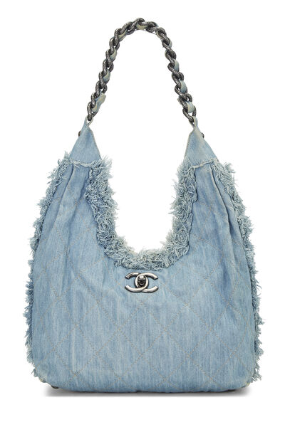 Blue Fringe Denim Hobo Bag