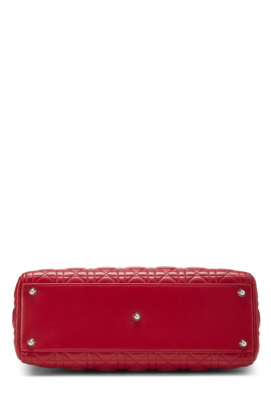 Red Cannage Quilted Lambskin Lady Dior Large, , large image number 4