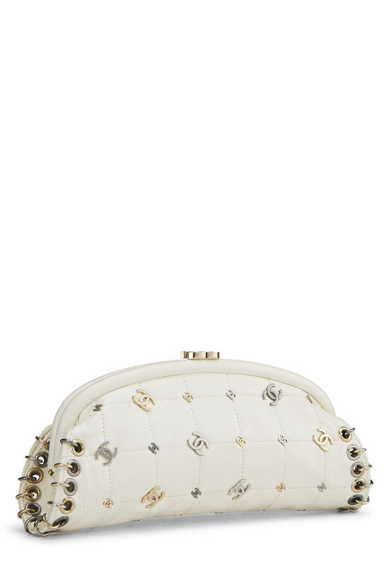 White Calfskin Punk Timeless Clutch, , large image number 1