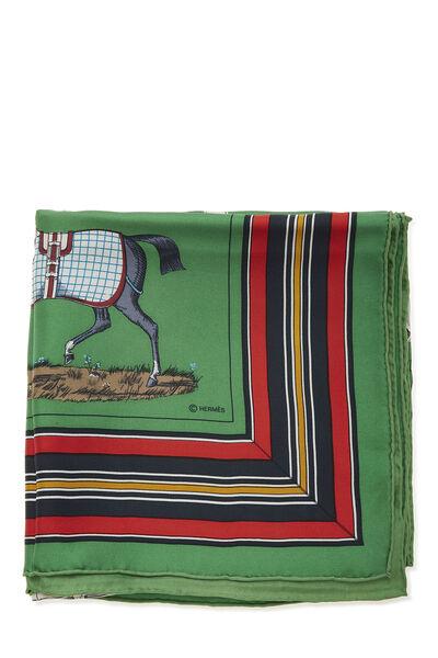 Green & Multicolor 'Couvertures et Tenues du Jour' Silk Scarf 90, , large
