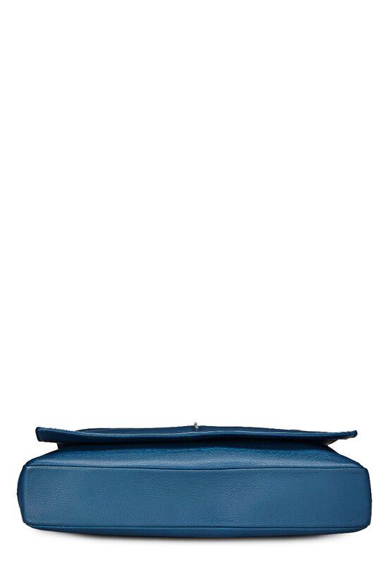 Homme Blue Leather Messenger Bag, , large image number 4