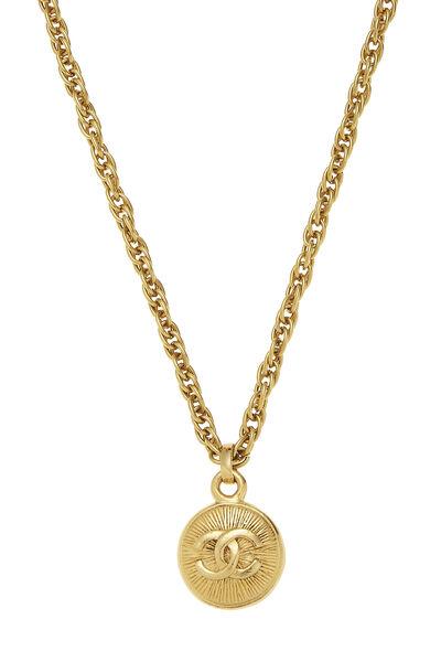 Gold 'CC' Sunburst Necklace, , large