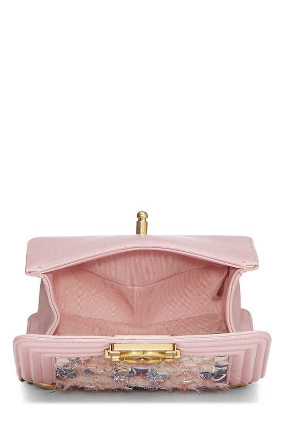 Pink Calfskin & Multicolor Tweed Boy Bag Mini, , large image number 6