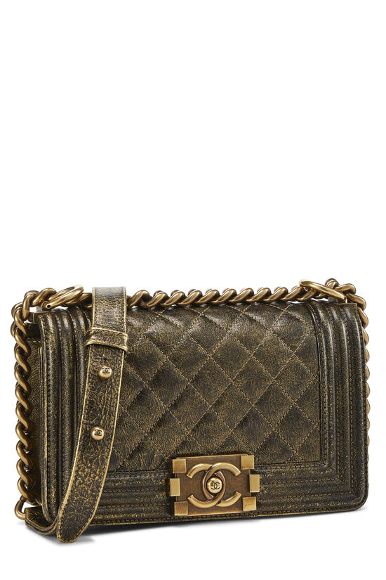 Metallic Brown Quilted Calfskin Boy Bag Small, , large image number 2