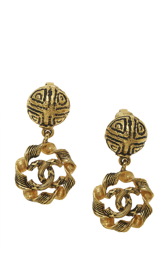 Gold Twisted 'CC' Dangle Earrings, , large image number 0