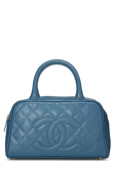 Blue Quilted Caviar Bowler Mini