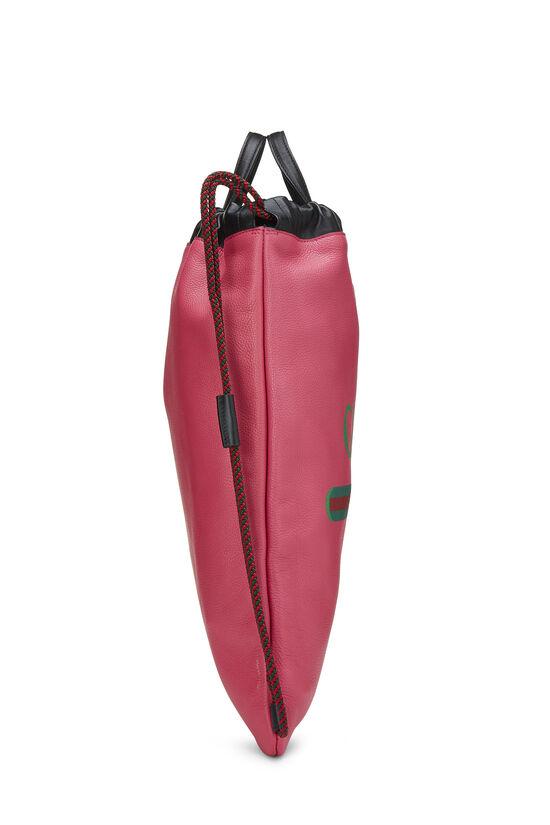 Pink Leather Drawstring Backpack Large, , large image number 2