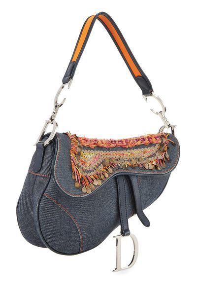 Blue Denim Embellished Saddle Bag, , large