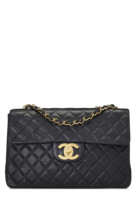 Black Quilted Lambskin Half Flap Maxi, , large image number 0