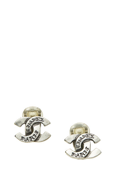 Silver 'CC' Engraved Earrings