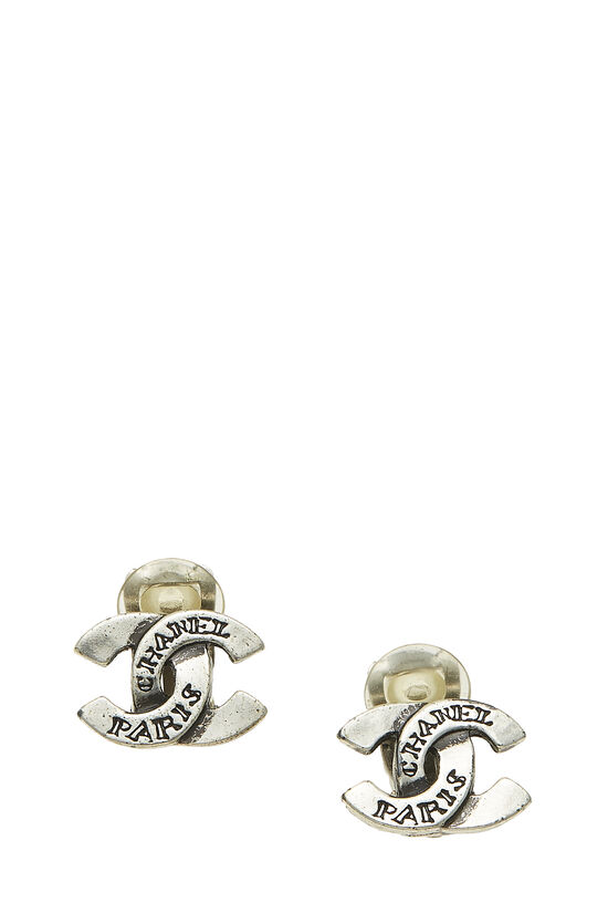 Silver 'CC' Engraved Earrings, , large image number 0