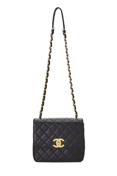 Black Quilted Lambskin Square Flap Bag, , large