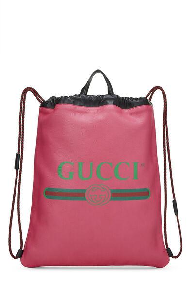 Pink Leather Drawstring Backpack Large