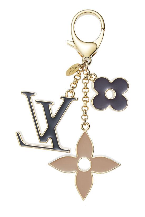 Black & Gold Fleur De Monogram Bag Charm, , large image number 1