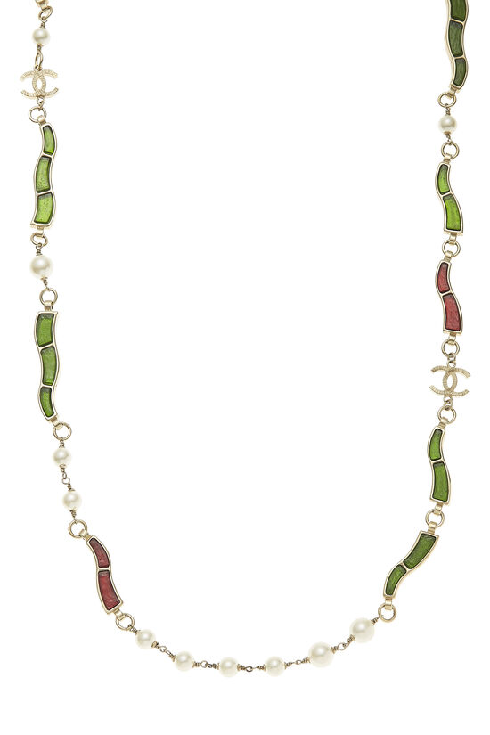 Green & Red Gripoix Necklace, , large image number 1