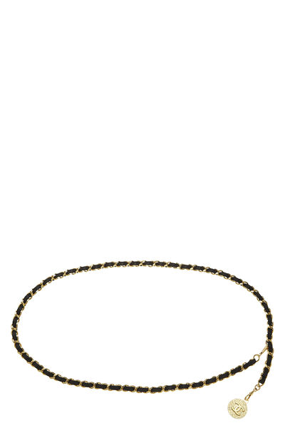 Gold & Black Leather Chain Belt