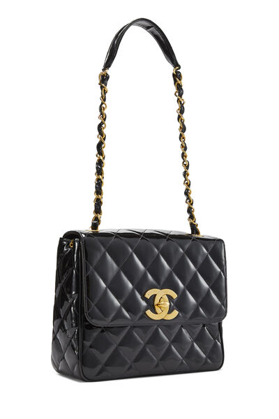 Black Quilted Patent Leather Square Flap Bag, , large