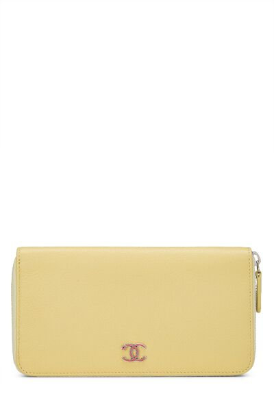 Yellow Calfskin Zip Around Wallet