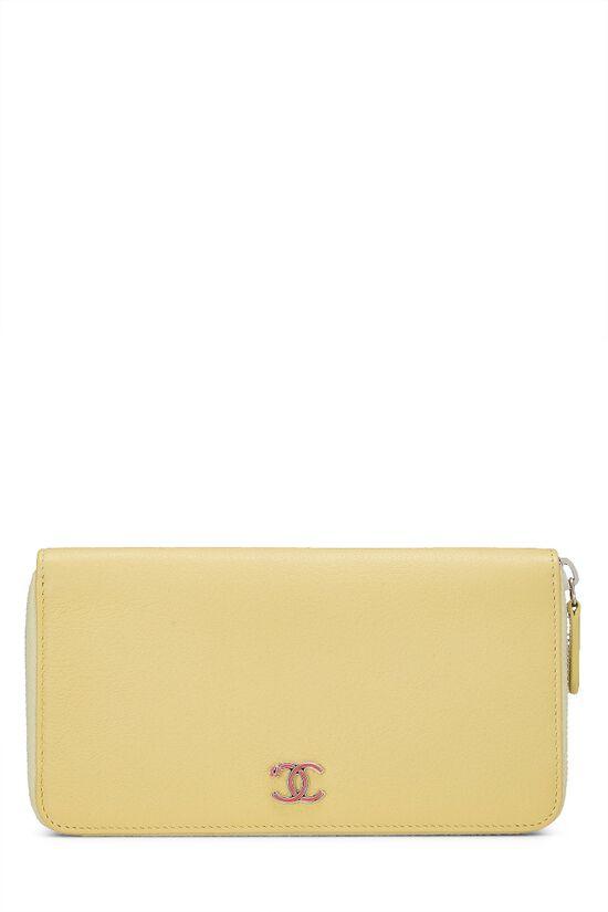 Yellow Calfskin Zip Around Wallet, , large image number 0