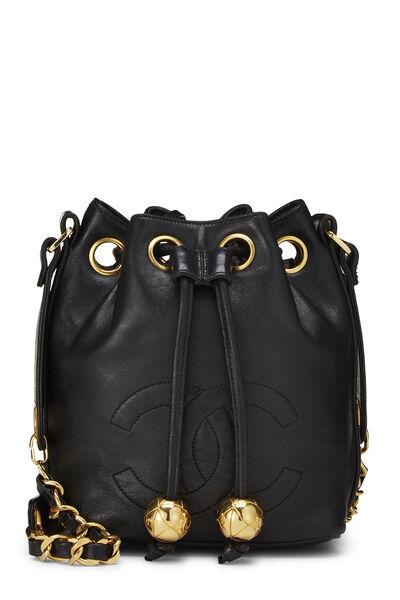Black Lambskin 'CC' Bucket Bag Small