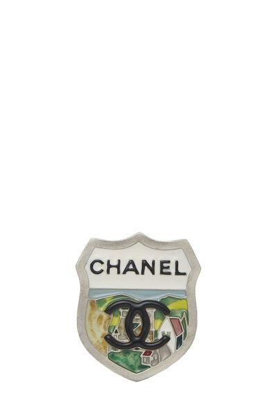 Multicolor Enamel 'CC' Shield Pin Small