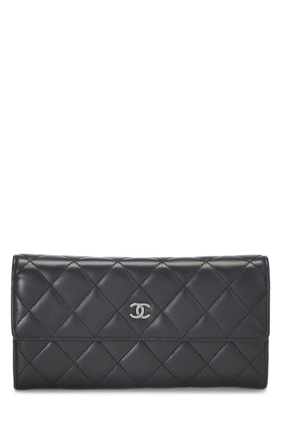 Black Quilted Lambskin Long Flap Wallet, , large image number 0