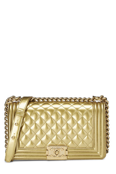 Gold Quilted Patent Leather Boy Bag Medium