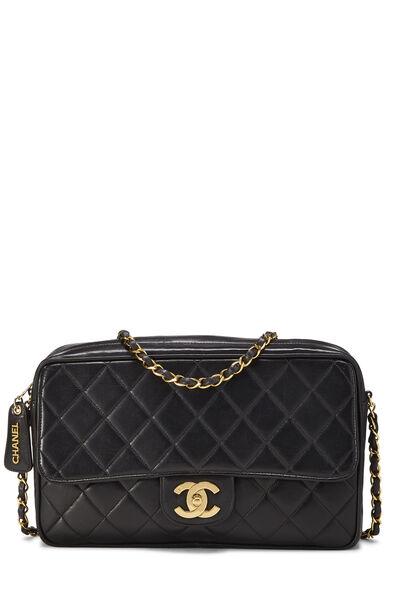 Black Quilted Lambskin Shoulder Bag Large