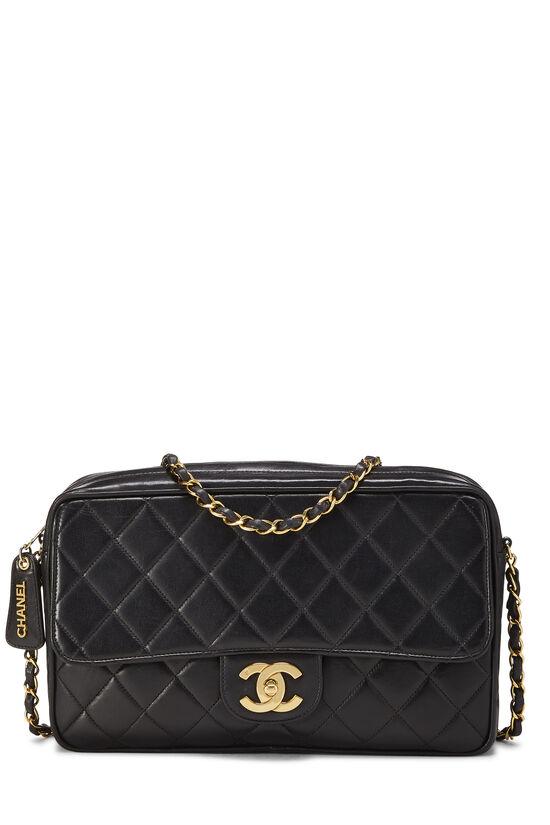 Black Quilted Lambskin Shoulder Bag Large, , large image number 0
