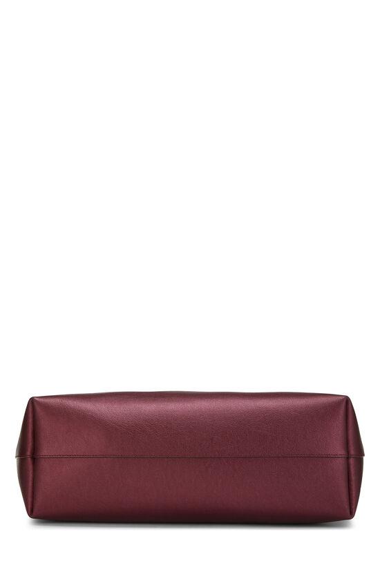 Metallic Burgundy Leather Shopping Bag East/West, , large image number 4
