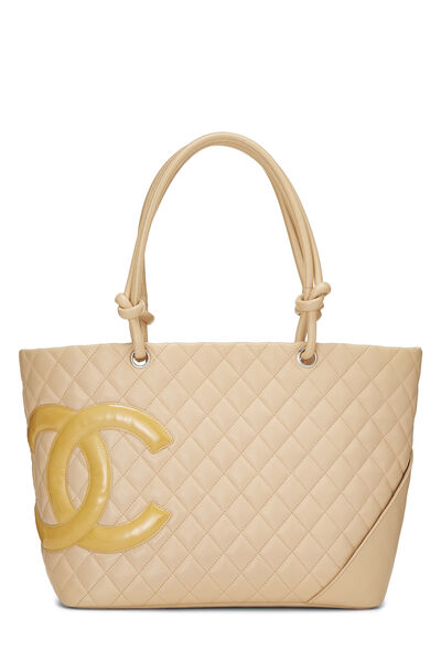 Beige Quilted Calfskin Cambon Tote Large