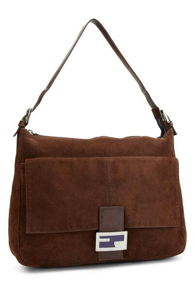 Brown Suede Shoulder Bag, , large