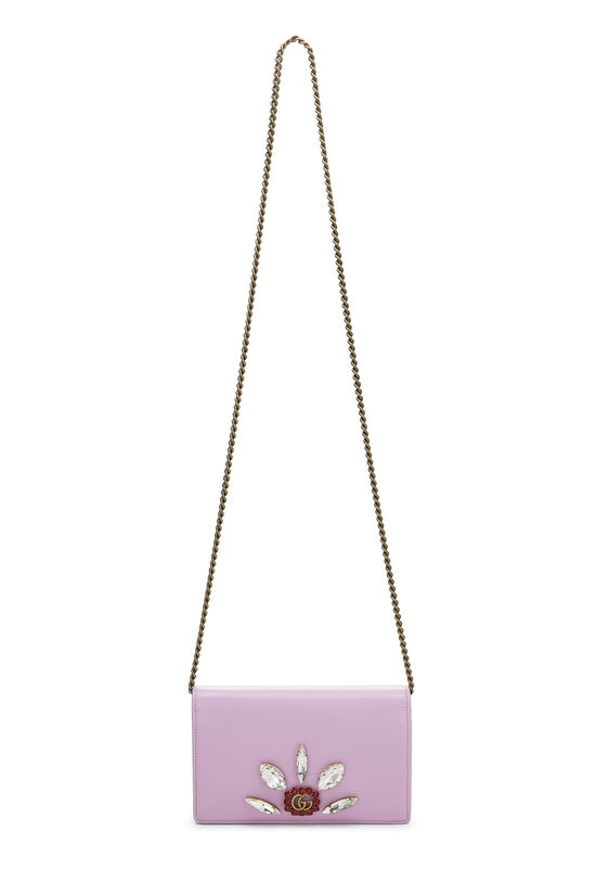 Pink Leather GG Marmont Wallet on Chain Mini, , large image number 6